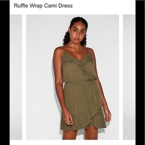 Army green ruffle dress from Express